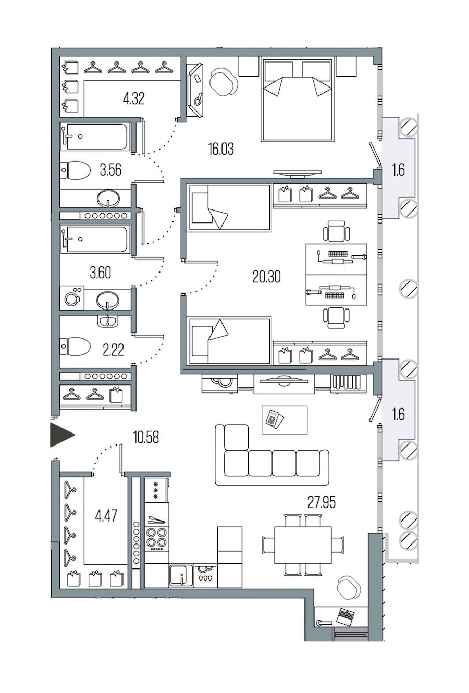 2-комнатная 93 м<sup>2</sup> на 7 этаже