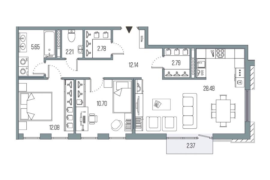 2-комнатная 76 м<sup>2</sup> на 7 этаже