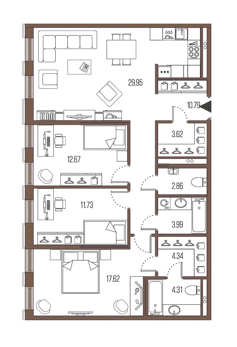 3-комнатная 101 м<sup>2</sup> на 2 этаже