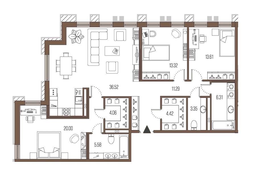 3-комнатная 118 м<sup>2</sup> на 2 этаже