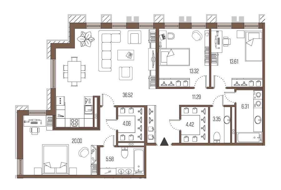3-комнатная 118 м<sup>2</sup> на 3 этаже