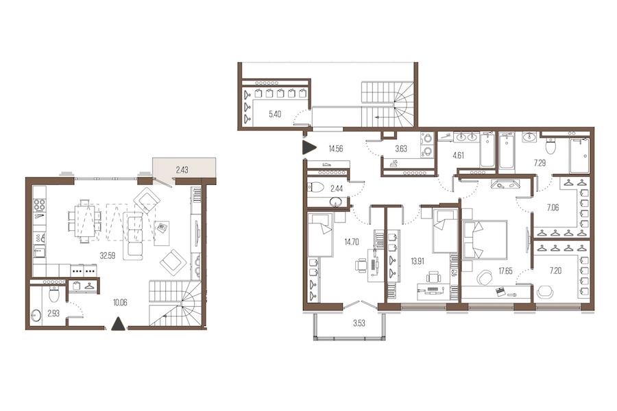 3-комнатная 144 м<sup>2</sup> на 7 этаже