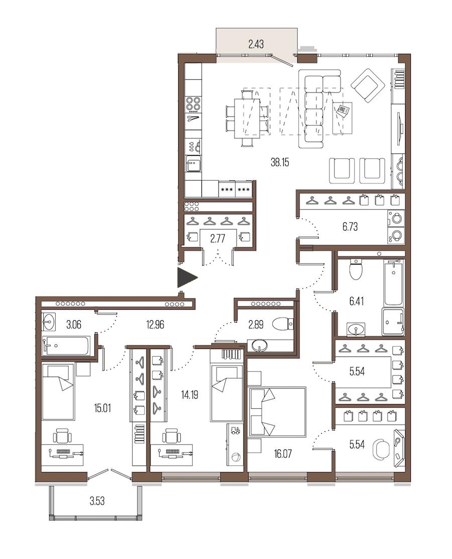 3-комнатная 129 м<sup>2</sup> на 7 этаже