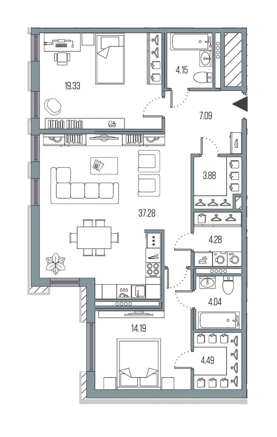 2-комнатная 98 м<sup>2</sup> на 5 этаже