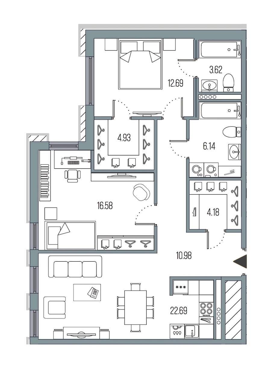 2-комнатная 81 м<sup>2</sup> на 4 этаже