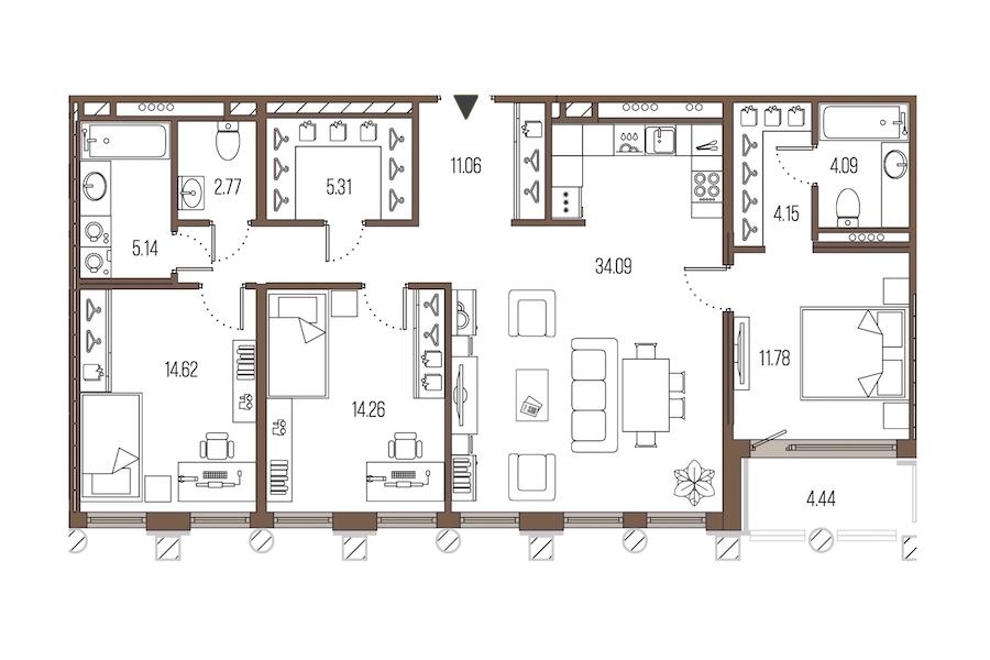 3-комнатная 107 м<sup>2</sup> на 4 этаже