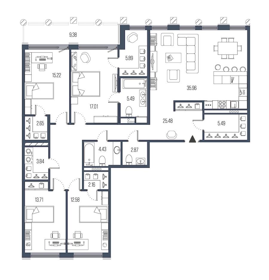 4-комнатная 152 м<sup>2</sup> на 4 этаже