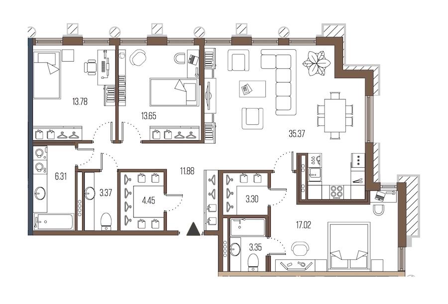 3-комнатная 112 м<sup>2</sup> на 4 этаже