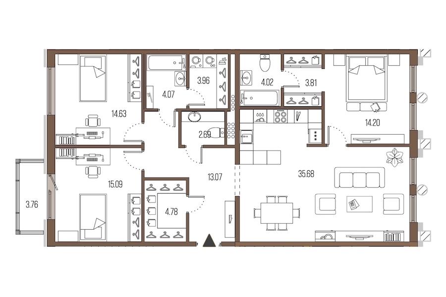 3-комнатная 116 м<sup>2</sup> на 4 этаже