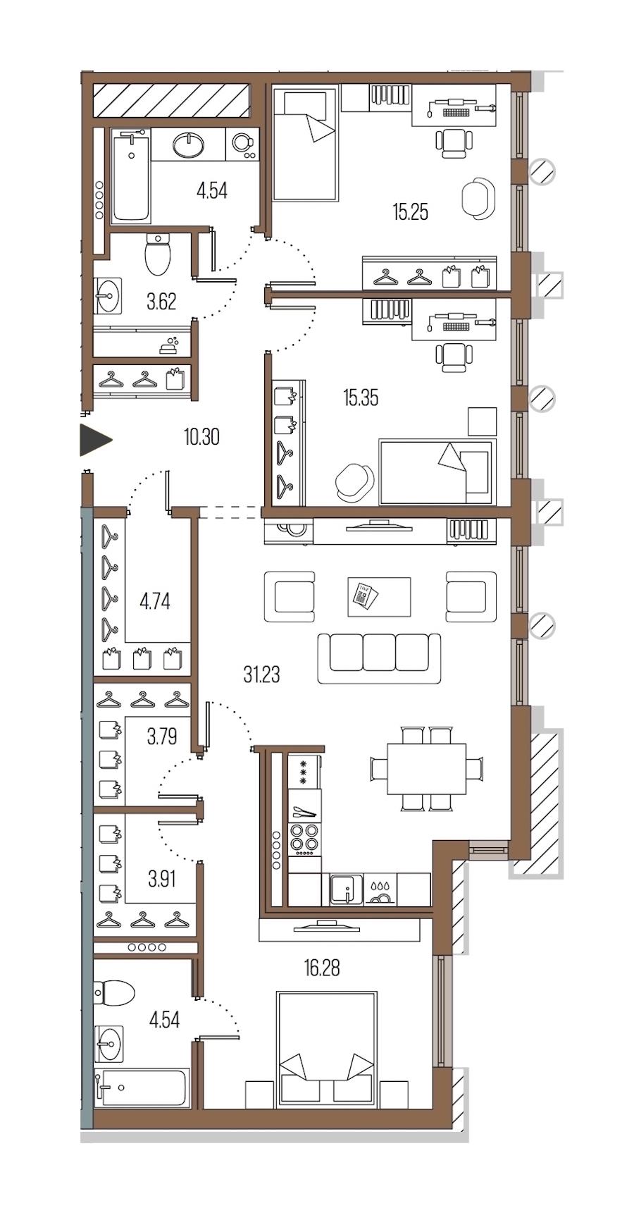 3-комнатная 113 м<sup>2</sup> на 4 этаже