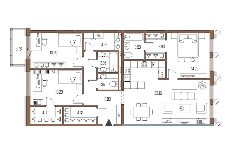 3-комнатная 110 м<sup>2</sup> на 5 этаже