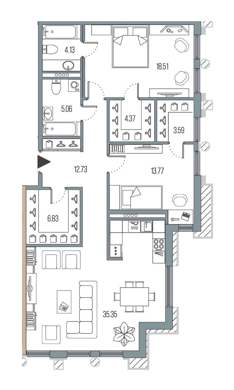 2-комнатная 104 м<sup>2</sup> на 5 этаже