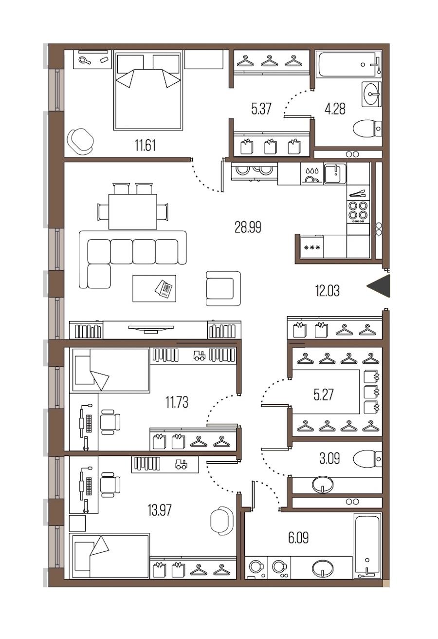3-комнатная 102 м<sup>2</sup> на 2 этаже