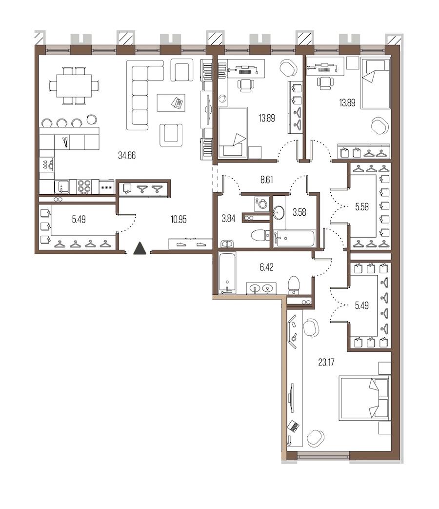 3-комнатная 135 м<sup>2</sup> на 2 этаже