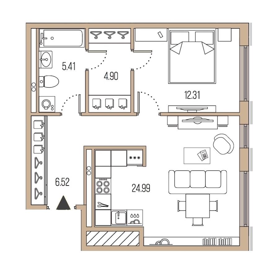 1-комнатная 54 м<sup>2</sup> на 2 этаже