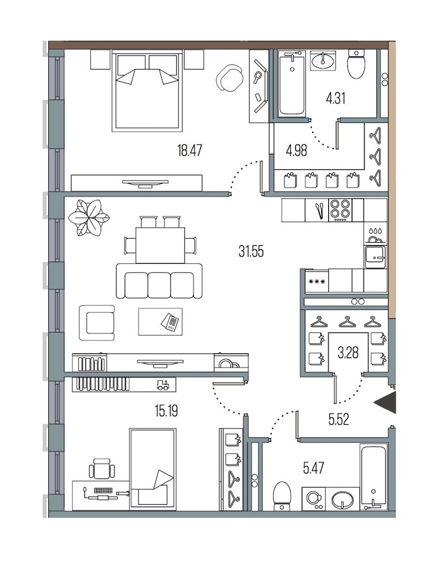2-комнатная 88 м<sup>2</sup> на 3 этаже
