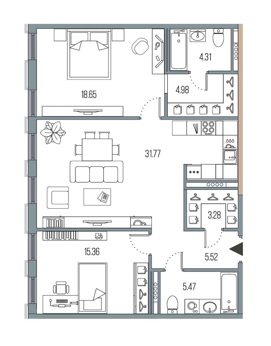 2-комнатная 89 м<sup>2</sup> на 4 этаже