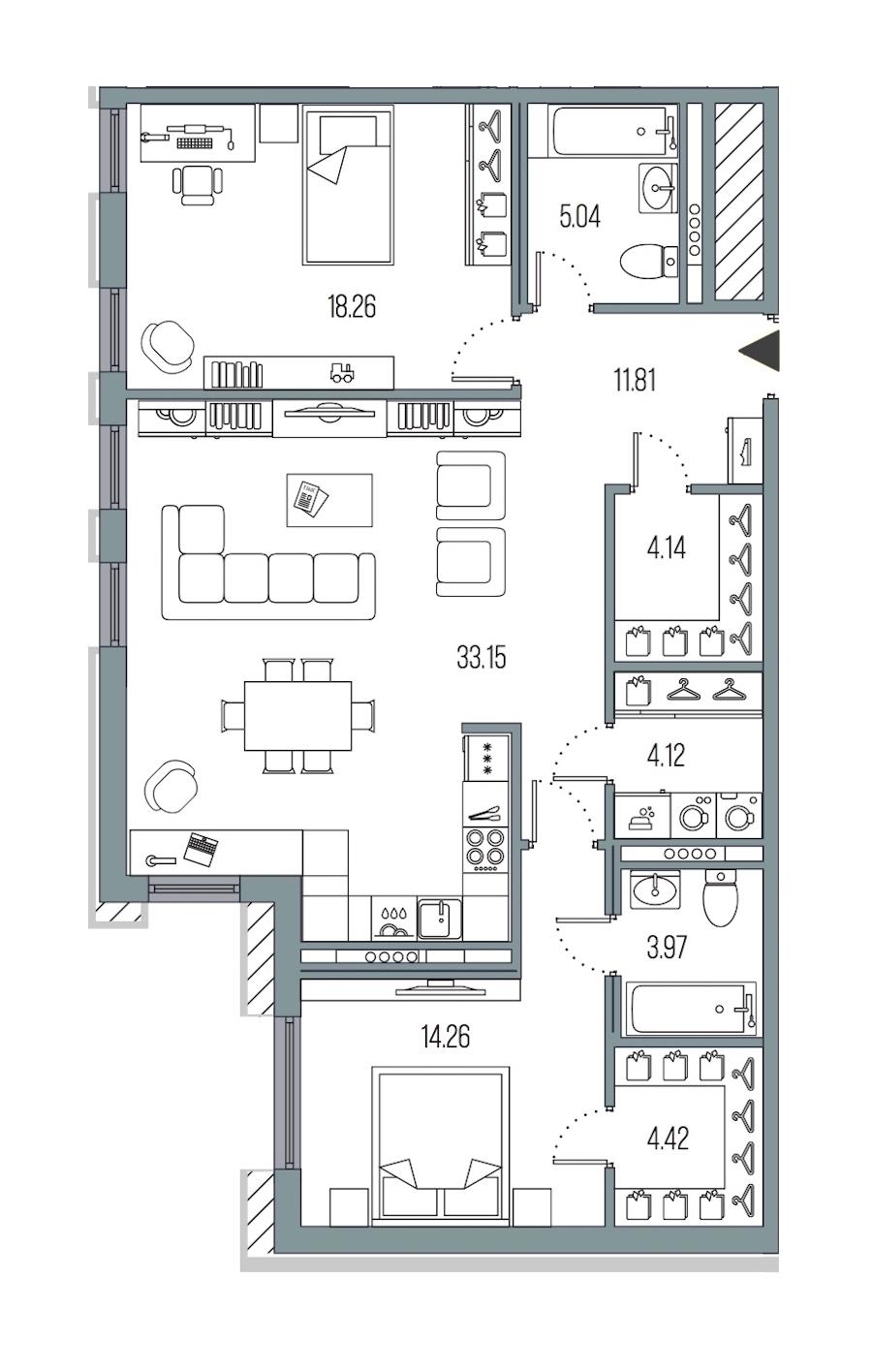 2-комнатная 99 м<sup>2</sup> на 4 этаже