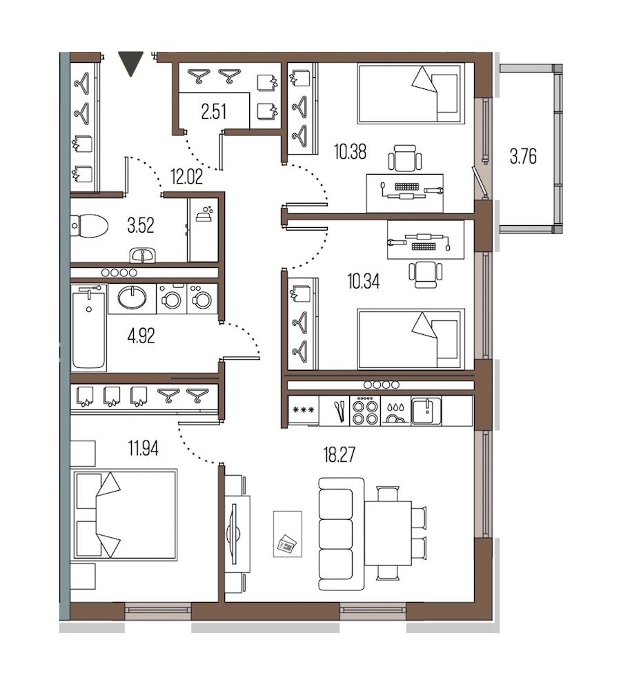 3-комнатная 73 м<sup>2</sup> на 3 этаже