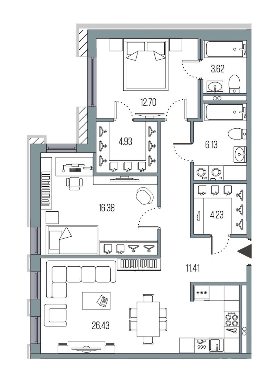 2-комнатная 85 м<sup>2</sup> на 2 этаже