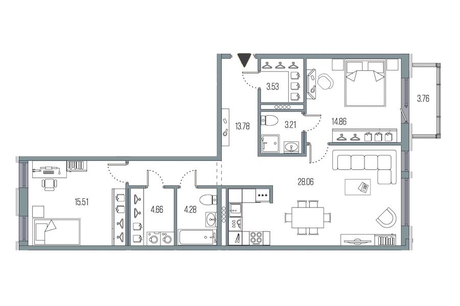 2-комнатная 87 м<sup>2</sup> на 3 этаже