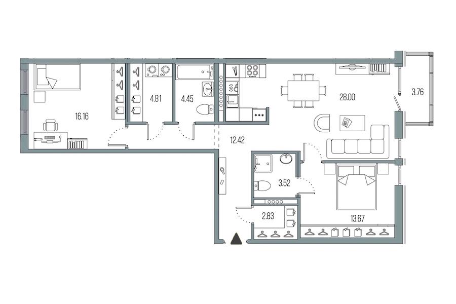 2-комнатная 85 м<sup>2</sup> на 5 этаже
