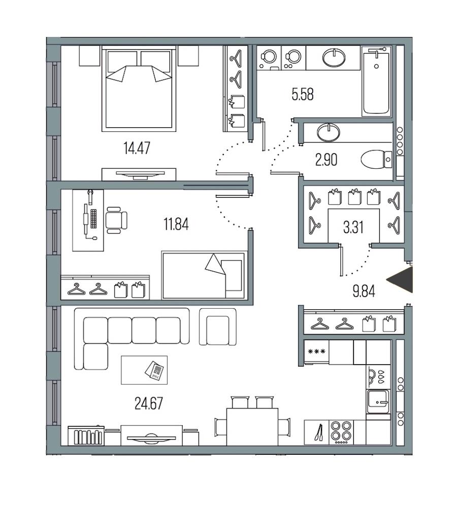 2-комнатная 72 м<sup>2</sup> на 4 этаже