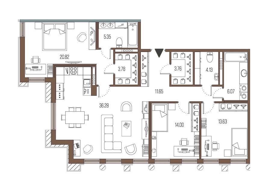 3-комнатная 119 м<sup>2</sup> на 4 этаже