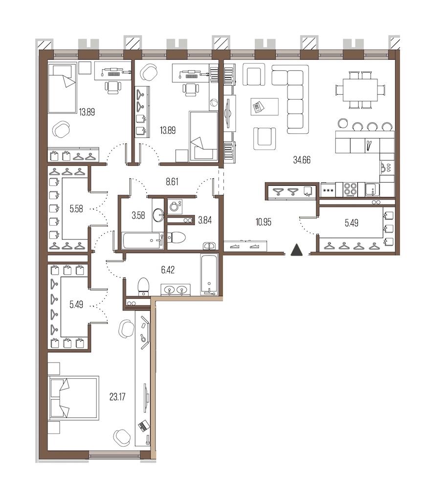 3-комнатная 135 м<sup>2</sup> на 3 этаже
