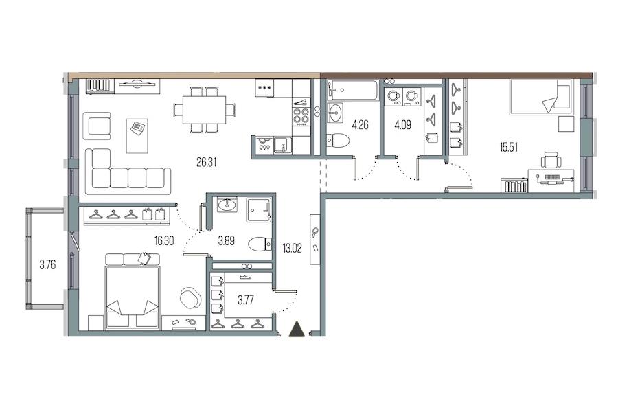 2-комнатная 87 м<sup>2</sup> на 2 этаже