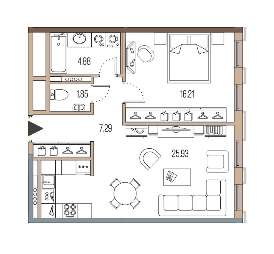 1-комнатная 56 м<sup>2</sup> на 5 этаже