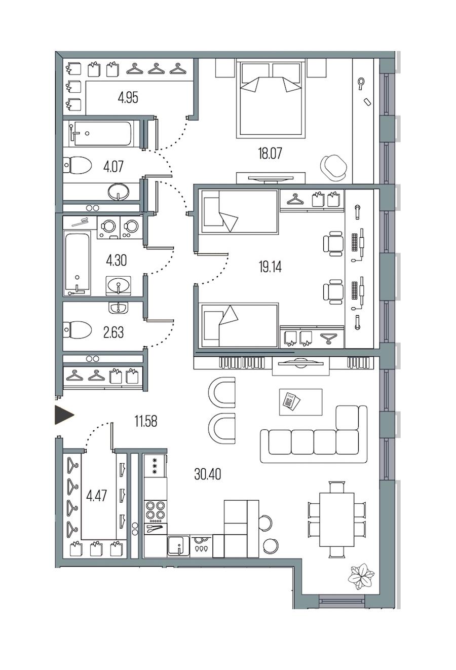 2-комнатная 99 м<sup>2</sup> на 2 этаже