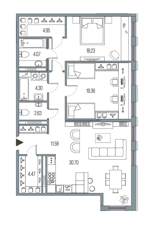2-комнатная 100 м<sup>2</sup> на 4 этаже