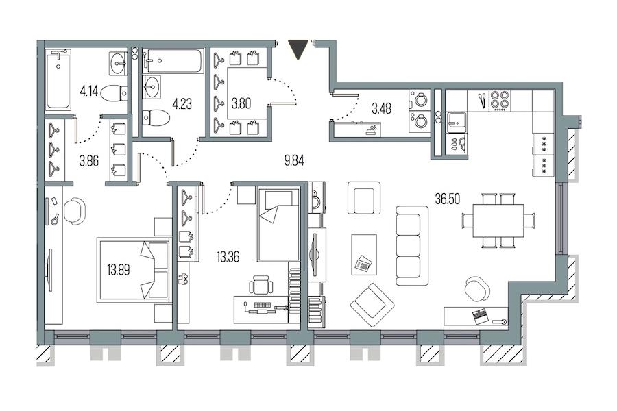 2-комнатная 92 м<sup>2</sup> на 2 этаже