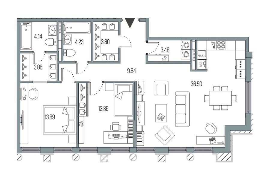 2-комнатная 93 м<sup>2</sup> на 5 этаже