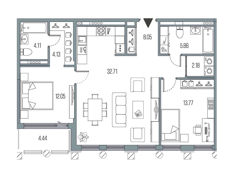 2-комнатная 82 м<sup>2</sup> на 4 этаже