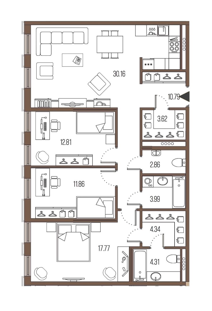 3-комнатная 102 м<sup>2</sup> на 5 этаже