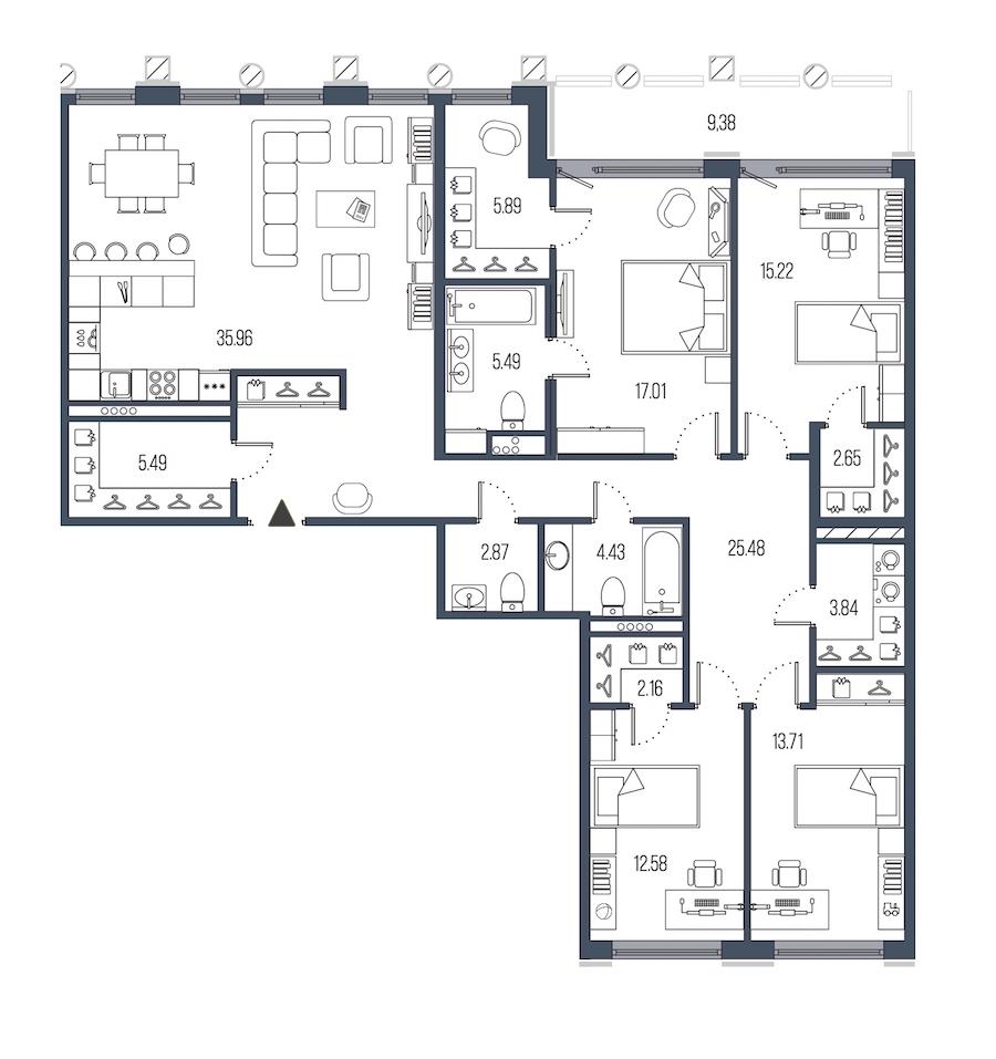 4-комнатная 152 м<sup>2</sup> на 5 этаже