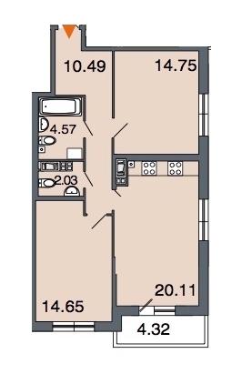 2-комнатная 66 м<sup>2</sup> на 7 этаже