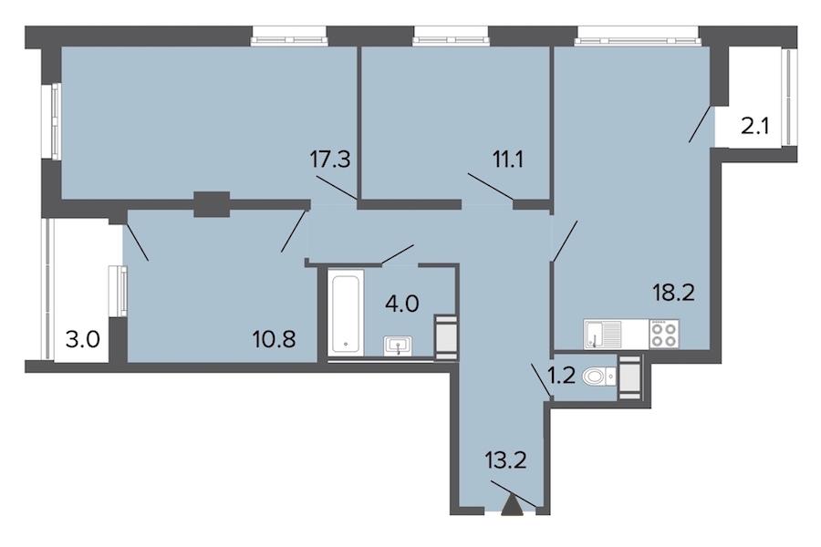 3-комнатная 75 м<sup>2</sup> на 5 этаже