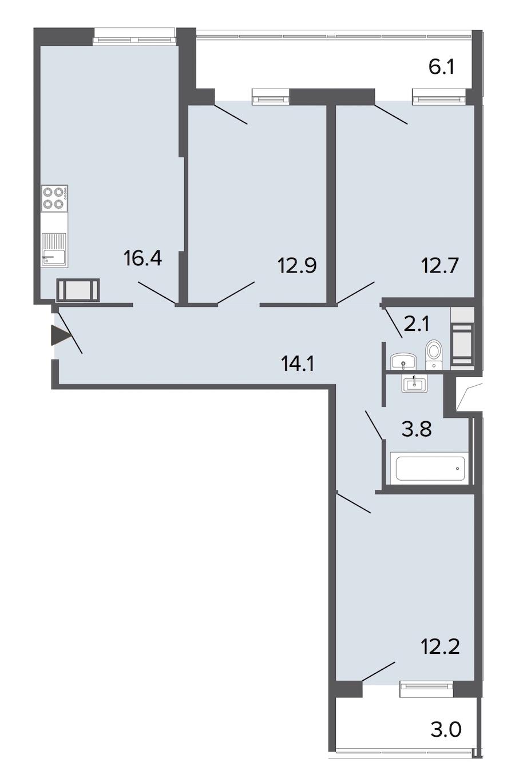 3-комнатная 74 м<sup>2</sup> на 22 этаже