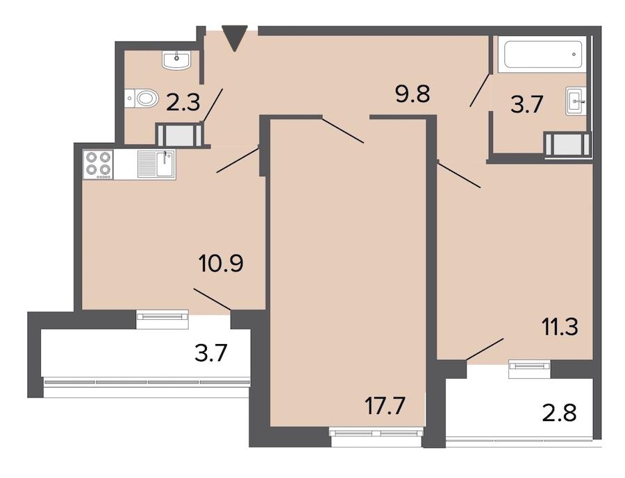 2-комнатная 55 м<sup>2</sup> на 10 этаже