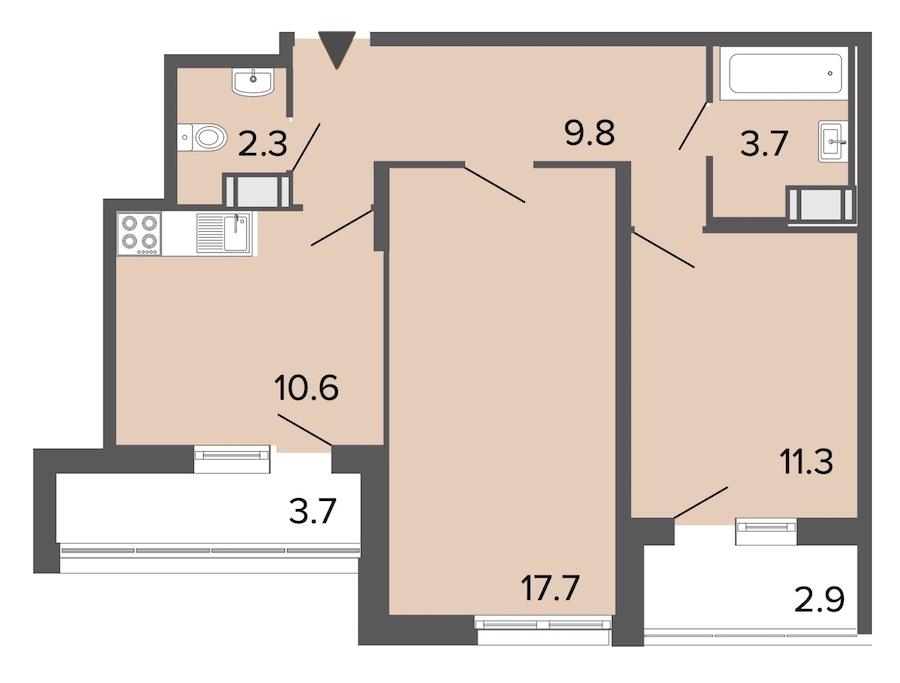2-комнатная 55 м<sup>2</sup> на 22 этаже