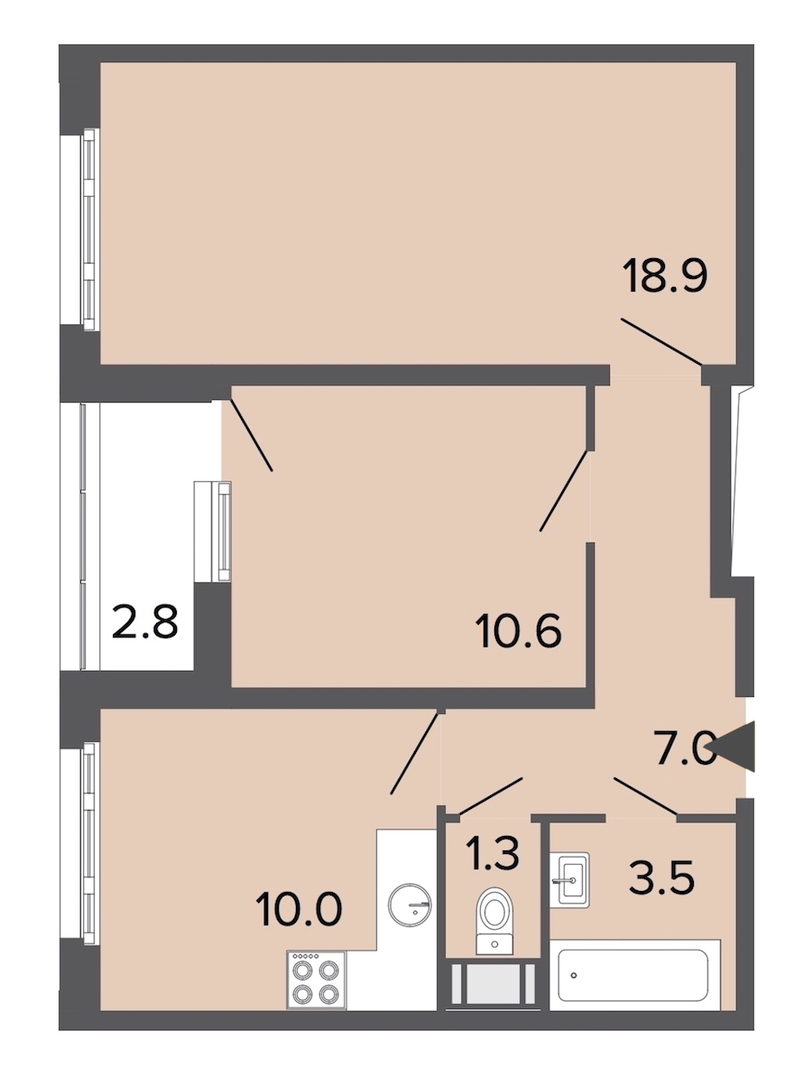 2-комнатная 51 м<sup>2</sup> на 14 этаже