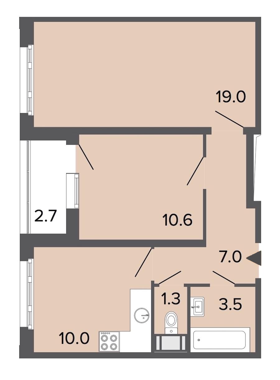 2-комнатная 51 м<sup>2</sup> на 15 этаже