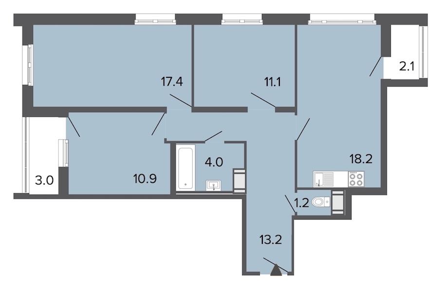 3-комнатная 76 м<sup>2</sup> на 11 этаже