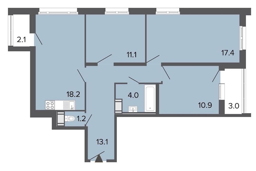 3-комнатная 76 м<sup>2</sup> на 10 этаже