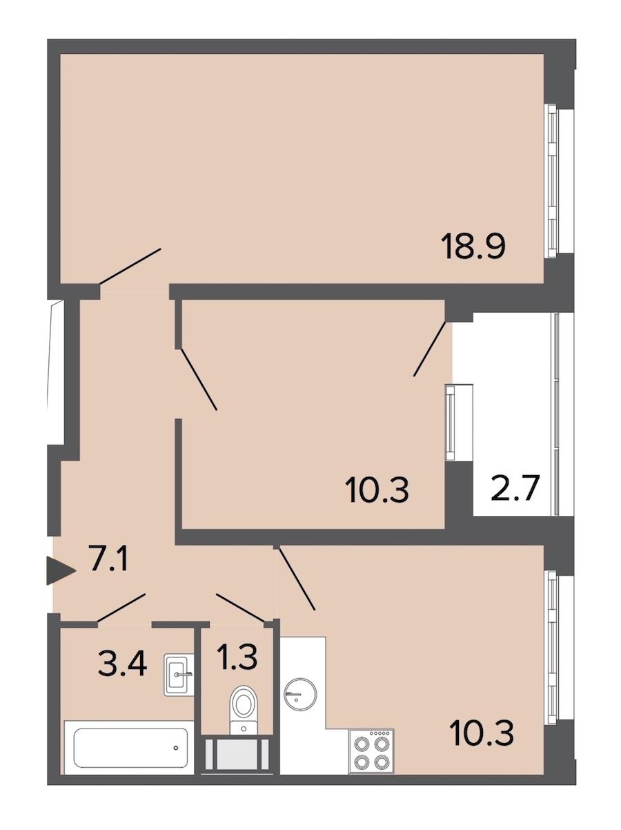 2-комнатная 51 м<sup>2</sup> на 24 этаже