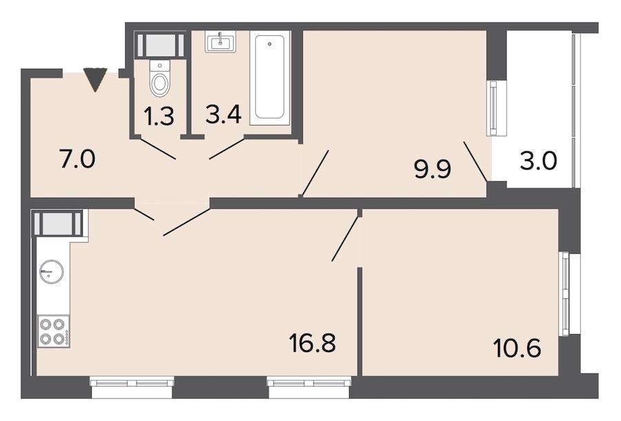 2-комнатная 48 м<sup>2</sup> на 14 этаже