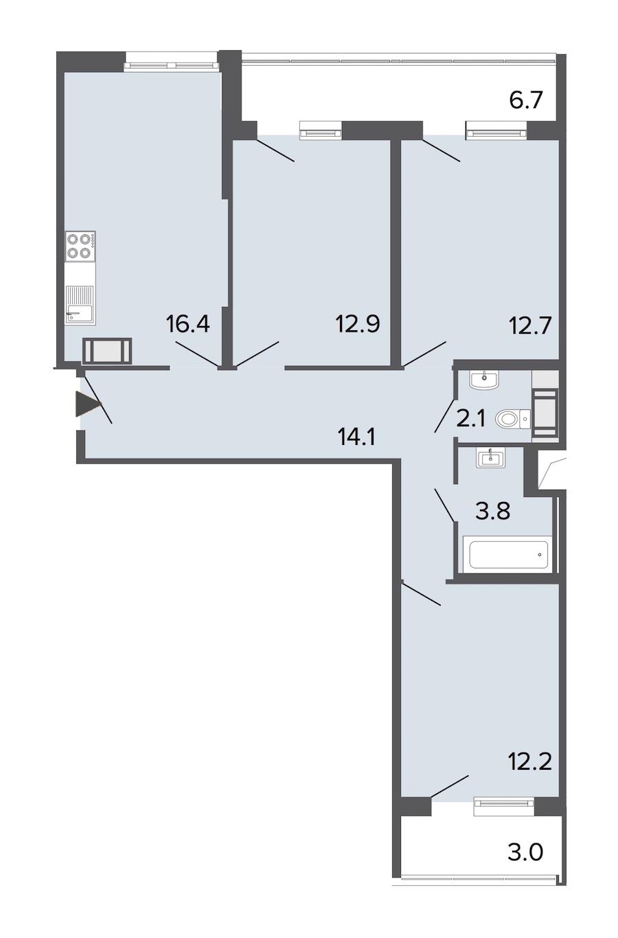 3-комнатная 74 м<sup>2</sup> на 14 этаже